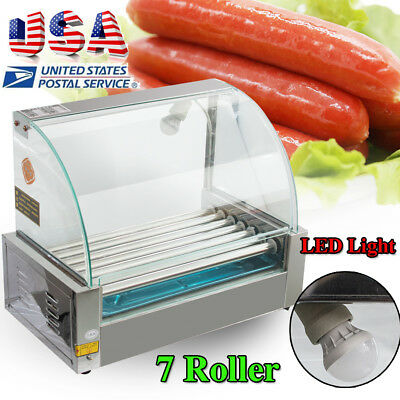 18 Hot Dog 7 Roller Grill Stainless Steel Cooker Machine Wcover Dust Shield Led