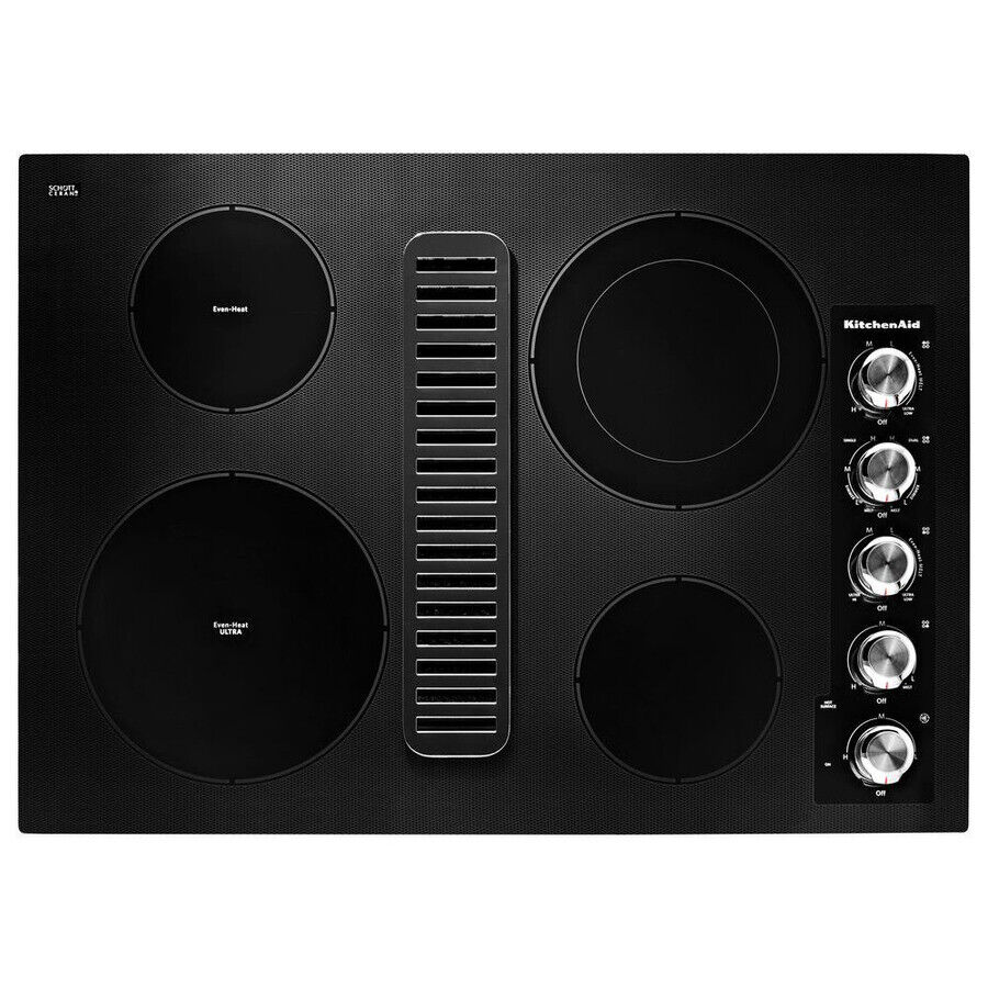 Kitchen Aid KCED600GBL 30 Electric Downdraft Cooktop with 4