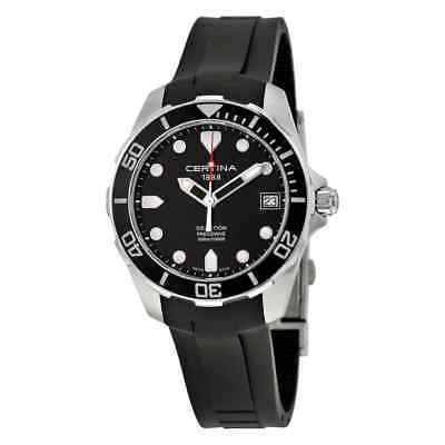 Certina DS Action Black Dial Black Rubber Men's Quartz Watch C0324101705100