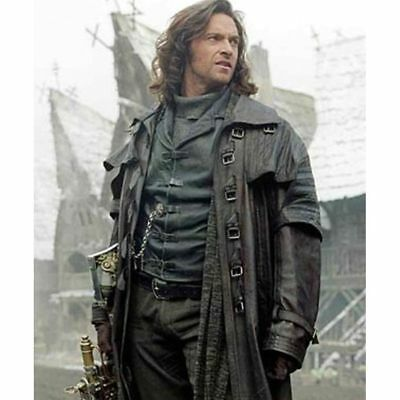 Men's Steampunk Gothic Leather Trench Coat Jacket Hugh Jackman Van Helsing Coat