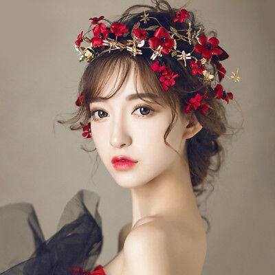 Red Flower Headband Wedding Bridal Leaf Floral Headpiece Crown Tiara Hair Access - Red Tiaras
