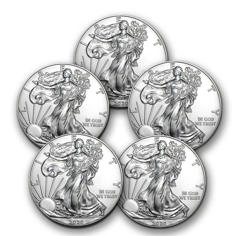 SPECIAL PRICE! 2020 1 oz Silver American Eagle BU - Lot of 5 Coins