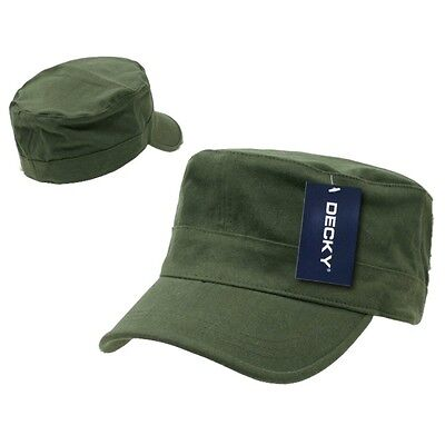 Olive Green Army GI Military Flex Flat Cotton Cadet Fit Fitted Patrol Cap Hat