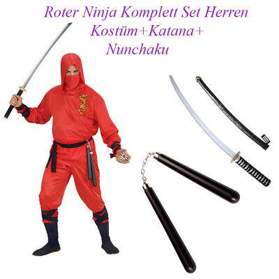 NINJA KOSTÜM SET HERREN Karneval Fasching Schwert Nunchaku Dolch Waffe   # N14