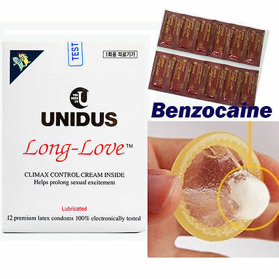 [Unidus] Long Love Delay condom 1box(12pcs)/Benzocaine for Climax Control/Latex