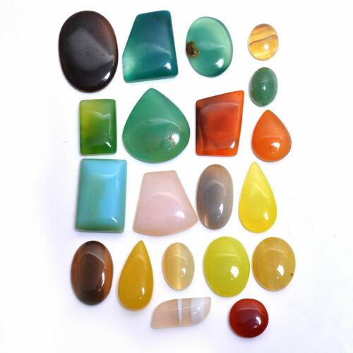 567+Cts+Natural+Untreated+Multi+Onyx+Beautiful+Cabochon+Gemstones+Lot+%7E+20+Pcs