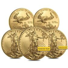 Lot of 5 - 1 oz Gold American Eagle $50 Coin BU (Random Year)