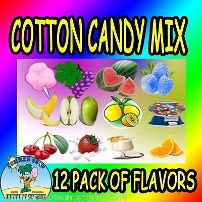 12 Pack Cotton Candy Mix W Sugar Flavoring Flossine Flavored Floss Concession