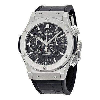 Hublot Classic Fusion Skeleton Dial Titanium Black Leather Automatic Mens Watch