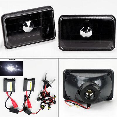 """4X6"""" 6K HID Xenon H4 Glass Black Headlight Conversion w/ Bulbs Pair RH LH GMC"""