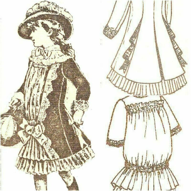 "Party DOLL DRESS  w/ jacket 22-24"" sewing PATTERN Victorian  German  French"
