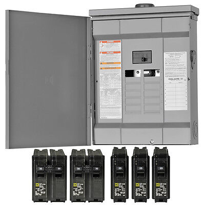 New Square-d Homeline 125-amp 12-space 24-circuit Outdoor Main-breaker Panel Box
