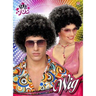 SCHWARZE AFROPERÜCKE # 70er Jahre Damen Herren Disco Hippie Kostüm Perücke 5977