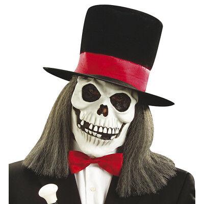 TOTENKOPF MASKE & HUT & HAAR Halloween Sensenmann Gevater Tod Kostüm Party - Hut Kostüm Maske