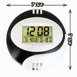 8 LCD Circular Digital Desktop +Wall Clock Thermometer Time Alarm Date Calendar