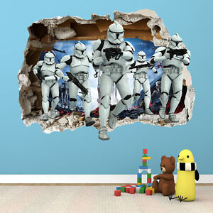 STAR WARS SMASHED WALL STICKER - 3D BEDROOM BOYS GIRLS WALL ART DECAL ...