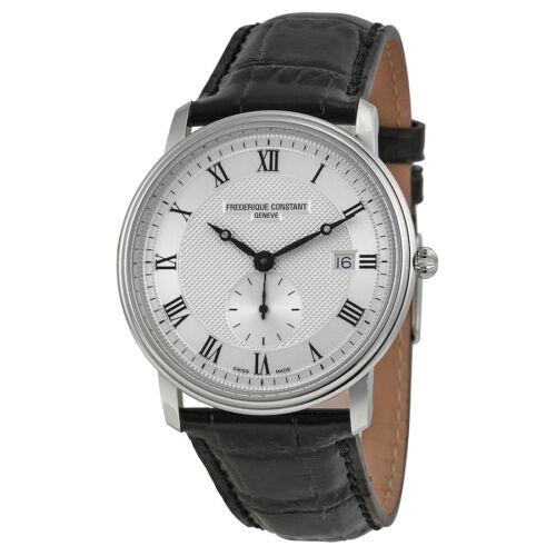 Frederique Constant Classics Silver Dial Black Leather Mens Watch 245M5S6