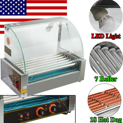 Commercial 18 Hot Dog 7 Roller Grill Cooker Machine W Protective Guard Led Light