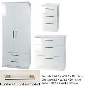 Brand new white gloss bedroom set RRP £600 not the cheap flat pack stuff