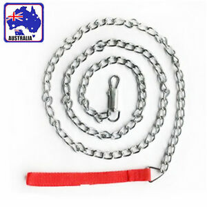120cm Pet Dog Chain Leash Lead 4mm Wire Nylon Handle Red 15kg+ Dogs PDOCH4440