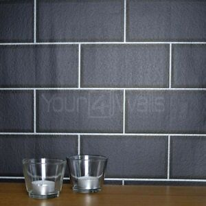 39 metro tile 39 ceramic brick tile effect wallpaper in black with silver grout ebay - White brick tiles black grout ...