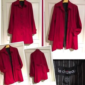Gorgeous size large dark red Le Chateau trench rain coat