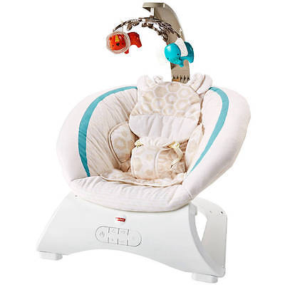 Fisher Price Deluxe Bouncer, Soothing Savanna Teal Lion & Elephant Mobile CLH37