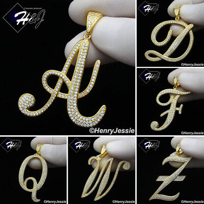 MEN 925 STERLING SILVER LAB DIAMOND ICED GOLD 26 INITIAL LETTERS (Sterling Silver Lab)