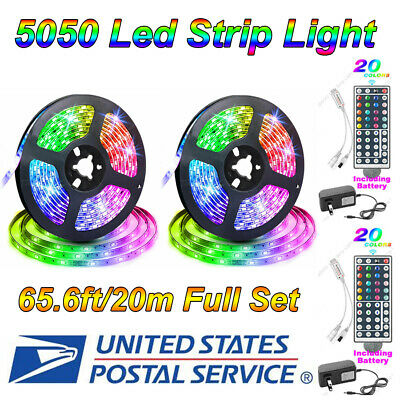65.6ft 5050 RGB Flexible LED Strip Light Remote Fairy Lights Room TV Party Bar