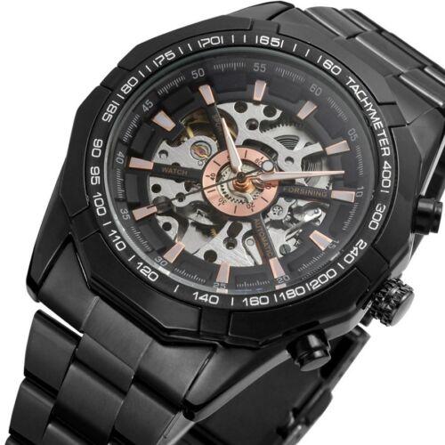 Luxury Royal Carving Mens Skeleton Steel Automatic Mechanical Sport Wrist Watch