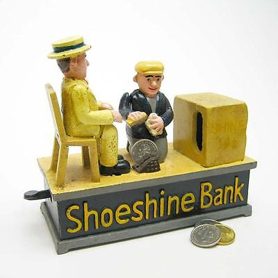 Die Cast Iron 1920S Style Shoeshine Antique Replica Mechanical Coin Bank
