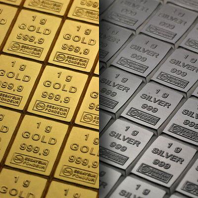 1 Gramm Goldbarren - Silberbarren - Palladiumbarren - Platinbarren 1g Gold