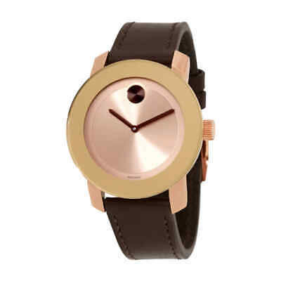 Movado Bold Rose Dial Brown Leather Ladies Watch 3600380