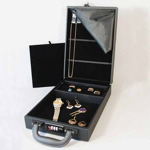 """Compact Jewelry Attache Carrying Case w Combo Lock 8 1/2"""" x 12 1/8"""" x 2 1/4""""H"""