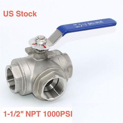 1-12 3 Way Ball Valve T Port 1000psi Npt Thread Stainless Steel 304 Us Stock