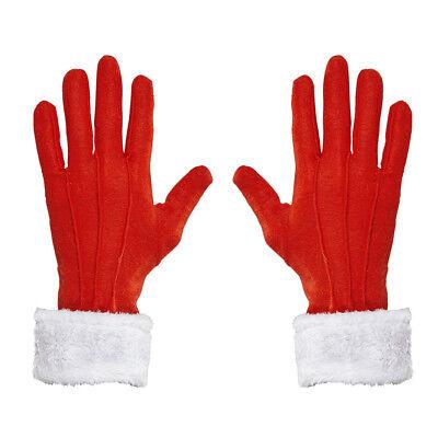 ROT WEIßE WEIHNACHTSMANN HANDSCHUHE Weihnachten Nikolaus Santa Kostüm Fest 05385 ()