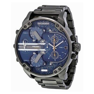 DIESEL Mr. Daddy 2.0 DZ7331 Gunmetal Blue Denim Wrist Watch for Men