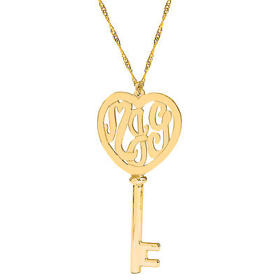 Personalized Sterling Silver / Gold Plated Heart Shape Monogram Key Necklace