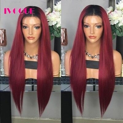 Burgundy Synthetic Fiber - Straight Synthetic Ombre Wigs Fiber Hair Lace Front Wigs Two Tone Black Burgundy