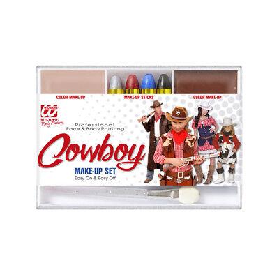 KINDERSCHMINKE COWBOY Karneval Fasching Kostüm Zubehör Make Up Set Kinder  02408