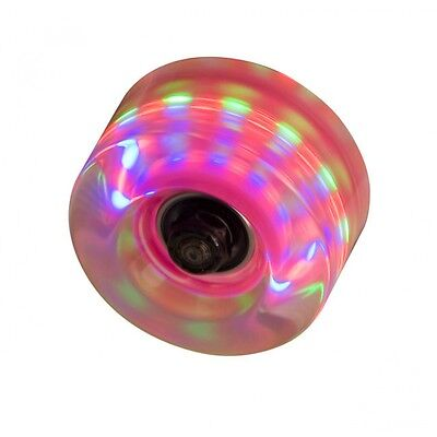 Clear Pink Flashing Light Up Roller Skate Wheels - Pack of 4 +Instructions