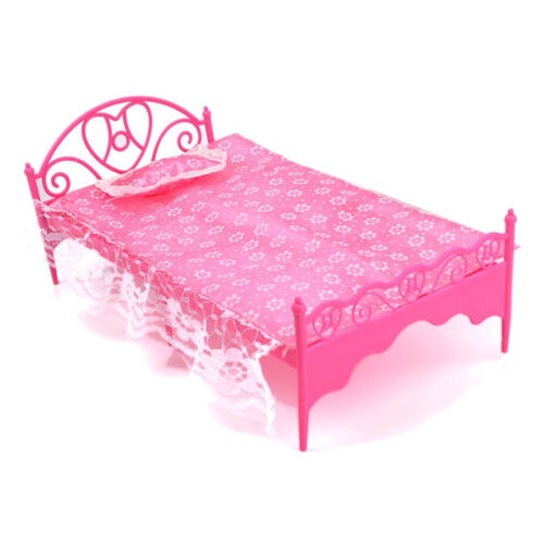 Beautiful Plastic Bed Bedroom Furniture For Barbie Dolls Dollhouse DT