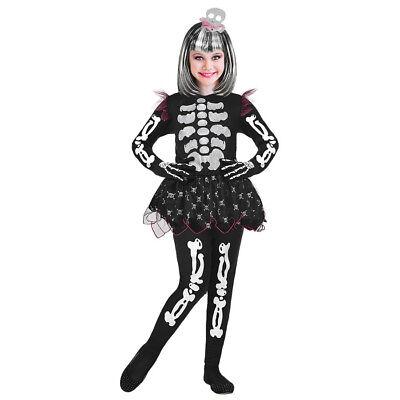 MÄDCHEN SKELETT KLEID & HAARREIF Halloween Kinder Grusel Kostüm Zombie Tutu - Skelett Kleid Kind Kostüm