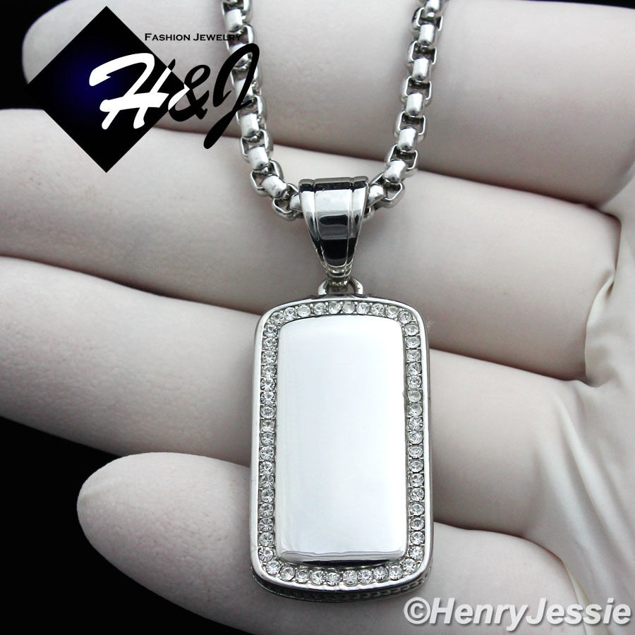 """18-36""""MEN Stainless Steel 3mm Silver Box Chain Necklace ICED"""