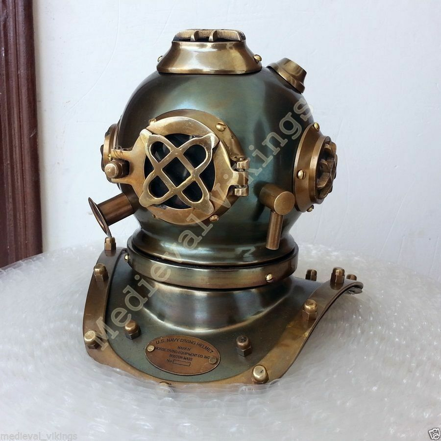 Antique Mark V Mini Scuba Vintage U.S Navy Divers Diving Helmet Desktop Decor