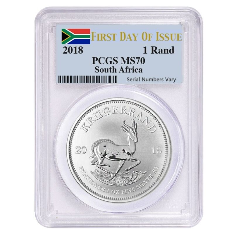 2018 South Africa 1 oz Silver Krugerrand PCGS MS 70 FDOI