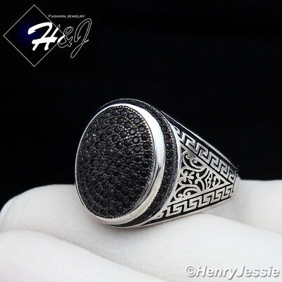 925 Sterling Silver Greek Key - MEN 925 STERLING SILVER BLACK LAB DIAMOND GREEK KEY OVAL RING*SR73