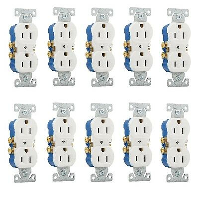 10 Pc 125 Volt 15 Amp White Residential Electrical Duplex Receptacle Outlet Plug