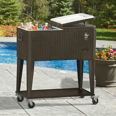 Outdoor Rattan 80QT Party Patio Rolling Cooler Cart Ice Beer Beverage Chest Cool Rolling Party Cooler