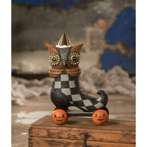 Johanna Parker Roller Spook Hoot Owl Skate Retro Vntg Halloween Decor Figurine